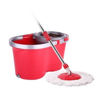 Arevo Twirl Wet Spin Mop and Bucket System - Red