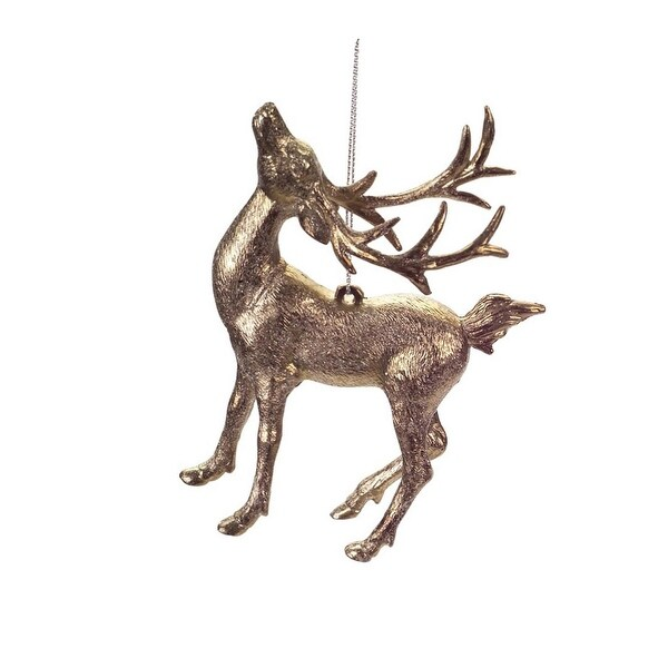 """5.5"""" Luxury Lodge Gold Tone Glittered Reindeer with Head Up Christmas Ornament"""