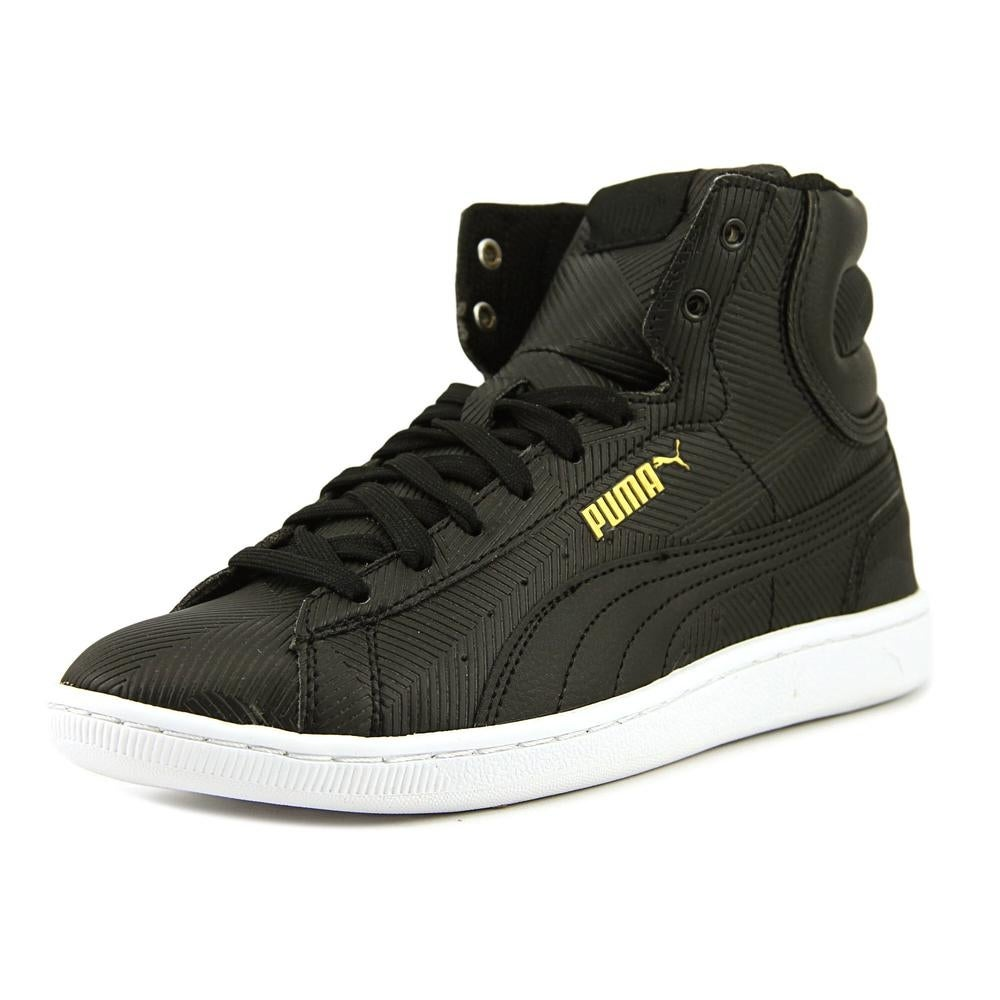 Puma Vikky Mid Deboss Women Round Toe Leather Black Sneakers