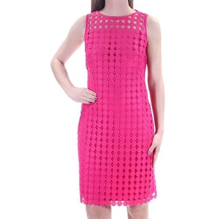 RALPH LAUREN $170 Womens New 1489 Pink Eyelet Crew Neck Sheath Prom Dress 4 B+B