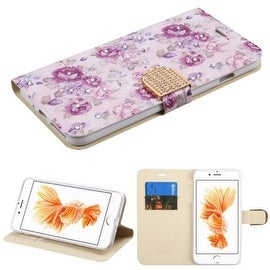 Insten Purple Flowers Leather Case Cover with Stand/ Wallet Flap Pouch/ Diamond For Apple iPhone 7 Plus