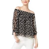 Cynthia Rowley Womens Blouse Off-The-Shoulder Embellished