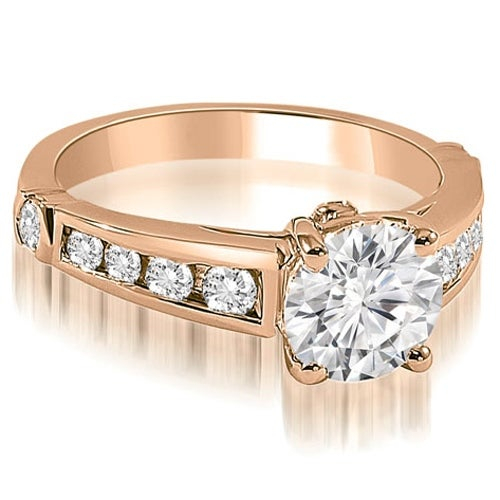 1.15 cttw. 14K Rose Gold Antique Cathedral Round Cut Diamond Engagement Ring