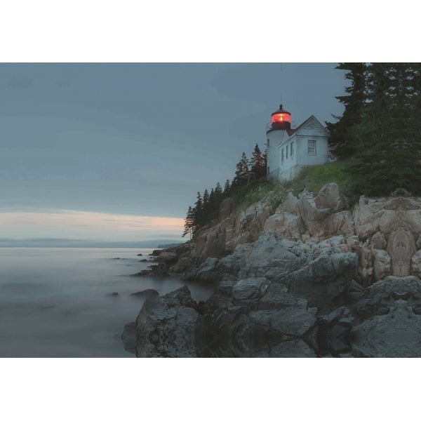 """LED Lighted Lighthouse Home with Morning Sunrise Canvas Wall Art 15.75"""" x 23.5"""""""
