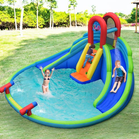 Costway Inflatable Bounce House Kids Water Splash Pool Dual Slides