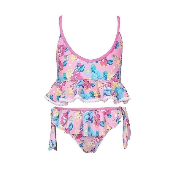 Sun Emporium Little Girls Pink Blue Vintage Blossom Frill Bikini Swimsuit