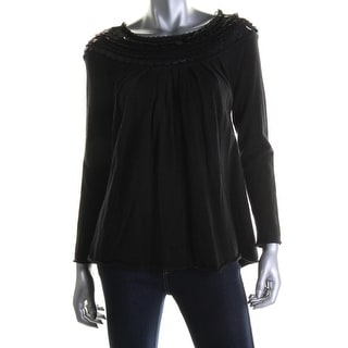 Catherine Malandrino Womens Wool Pleated Pullover Sweater - S