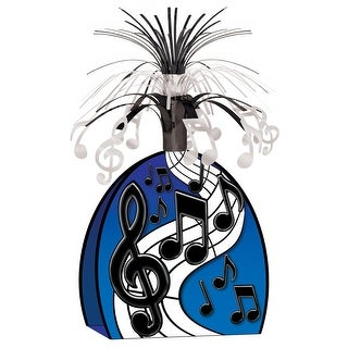 """Club Pack of 12 Blue and Black Musical Notes Centerpiece Decorations 15"""""""