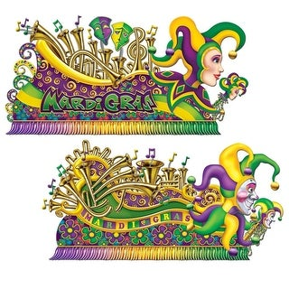 Club Pack of 24 Colorful Mardi-Gras Jester Float Wall Decorations 5.5' x 5.58'