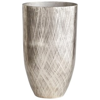 """Cyan Design 09830  Katerina 13-1/4"""" Diameter Aluminum Vase - Antique Silver"""
