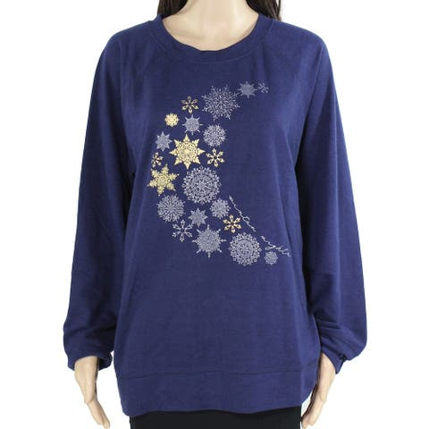Style & Co. Womens Sweater Blue Size Medium M Pullover Moon-Print