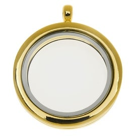 Floating Locket Pendant, Round with Glass Window 30mm, 1 Piece, Gold Plated