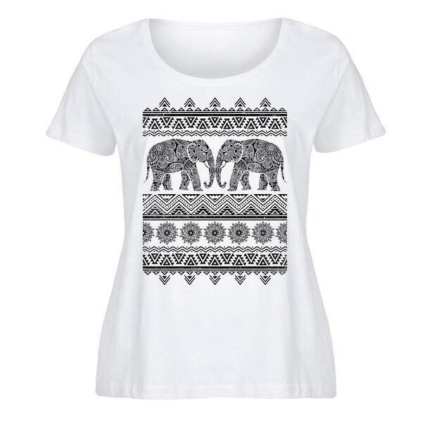 Tribal Elephant - Ladies Plus Size Scoop Neck Tee