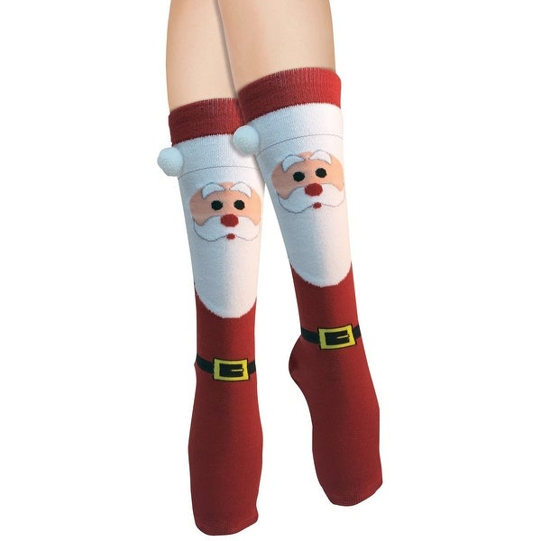 Women's Adult Christmas Socks Santa - Red