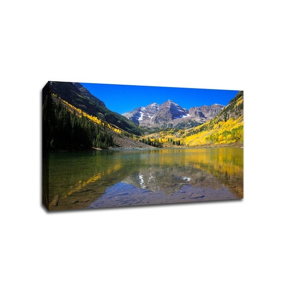 Maroon Bells Fall Foliage - Aspen Colorado - Capturing America - 36x24 Gallery Wrapped Canvas Wall Art