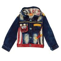 Rock'nStyle Boys Blue Denim Patches Letter Striped Hooded Jacket