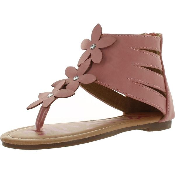 Yokids Daphne-23 Little Girls Flat Sandals With Flowers - Pink