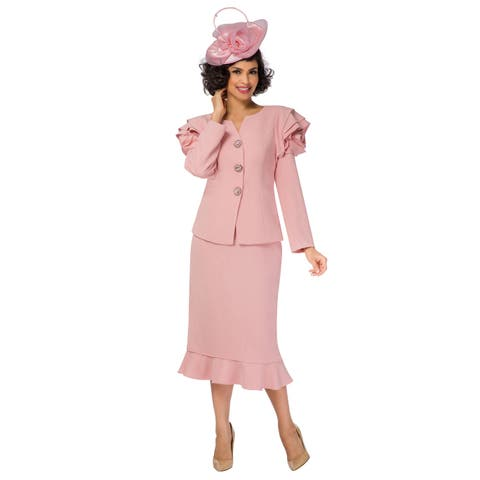 Giovanna Collection Women's 2-pc Skirt Suit w/ Full Rose on Shoulder