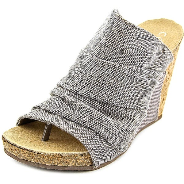 Coconuts By Matisse Tower Women Open Toe Canvas Gray Wedge Sandal