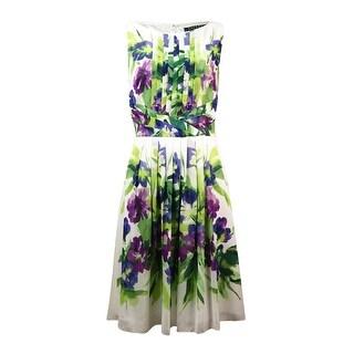 Lauren Ralph Lauren Women's Pleated Floral Georgette Dress - Cream/Purple