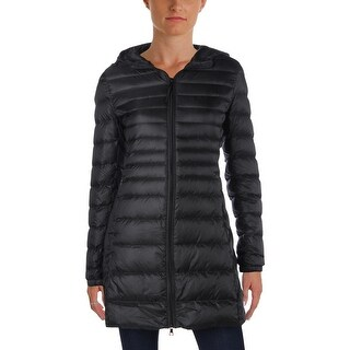 Aqua Womens Puffer Coat Hooded Quilted