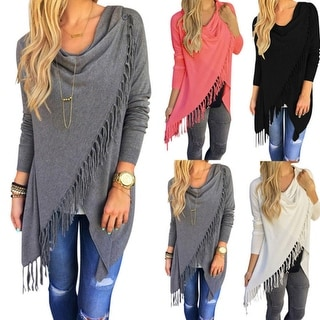 Casual Women Long Sleeve Solid Tassel Slash Blouse Tops Shirt Blouse
