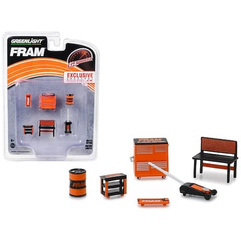 Greenlight Muscle 6 piece Set Shop Tools FRAM Oil Filters 1/64 by Greenlight