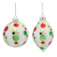 Pack of 6 White, Red and Green Beaded Polka Dot Glass Ball and Drop Christmas Ornaments
