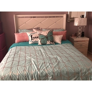 Intelligent Design Khloe Aqua/ Silver Metallic Printed 5-piece Comforter Set