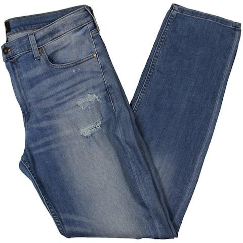 Paige Mens Tapered Leg Jeans Destroyed Slim Fit - Blue - 36