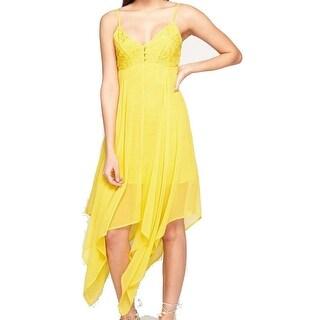 Miss Selfridge NEW Yellow Women Size 8 Assymetrical Chiffon Sheath Dress