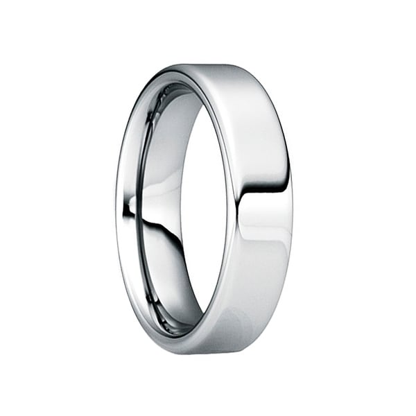 POMPONIUS Comfort Fit Tungsten Wedding Ring with Polished Finish by Crown Ring - 6mm