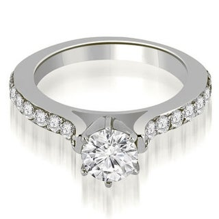1.30 CT.TW Cathedral Round Cut Diamond Engagement Ring in 14KT Gold - White H-I