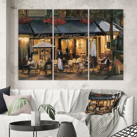Designart 'La Brasserie of Champs-Élysées Paris' French Country Gallery-wrapped Canvas