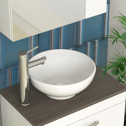 AOOLIVE 16 inch Round Ceramic basin Single Bowl Hand Wash Round Sink