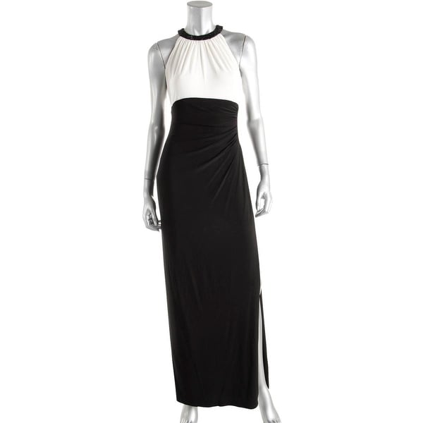 Lauren Ralph Lauren Womens Azusiana Evening Dress Beaded Neckline Ruched Side