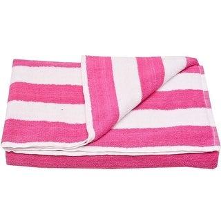 "Oxford Girls Fuchsia White Stripe Pattern Bath Sheet Beach Towel 32""x65"""