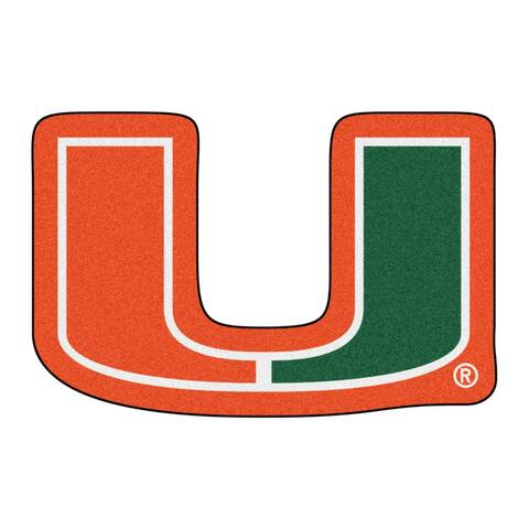 NCAA University of Miami Hurricanes Mascot Novelty Logo Shaped Area Rug