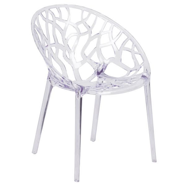 Transparent Oval Shaped Stacking Side Chair With Artistic Pattern Design 23 25 W X 24 D X 31 H Overstock 19390153