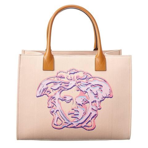 Versace Cabas Pop Medusa Canvas & Leather Tote