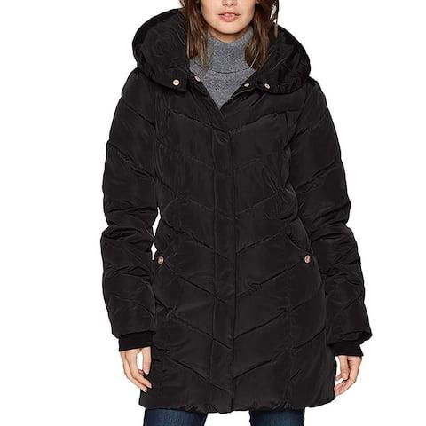 Steve Madden Womens Jacket Black Size Small S Puffer Chevron Quilt