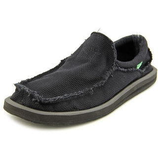 Sanuk Chiba Men Round Toe Canvas Black Loafer