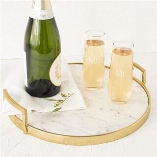 Mr. & Mr. 2 Stemless Champagne Toasting Flutes - Set of 2
