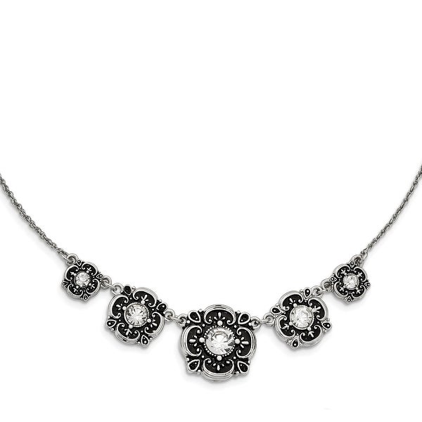 Silvertone Antiqued, Crystal Necklace - 16in