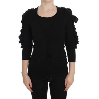 Dolce & Gabbana Black Cashmere Blend Ruffled Cardigan Sweater