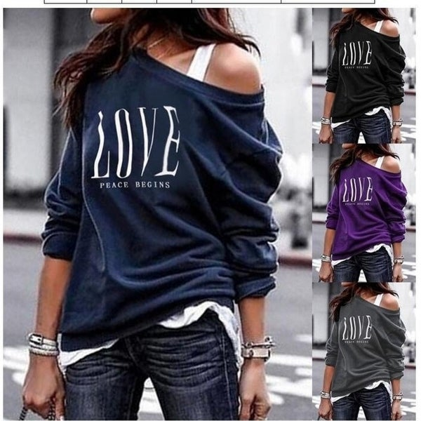 Women's One Shoulder Lightweight Letter Print Long Sleeve T-Shirts. Opens flyout.