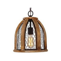 Farmhouse Chicken Wire Wood Pendant Light for Kitchen