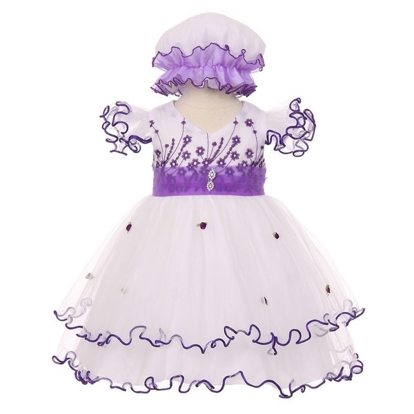 Baby Girls Purple Floral Embroidery Jewel Ruffle Bonnet Flower Girl Dress 3-24M