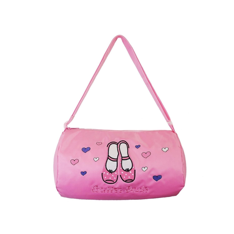 Wenchoice Girls PinkBallet Kids Heart Shoes Print Zippered Dance Duffle Bag