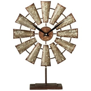 20.5 Rustic Distressed Galvanized Metal Windmill Desk Clock